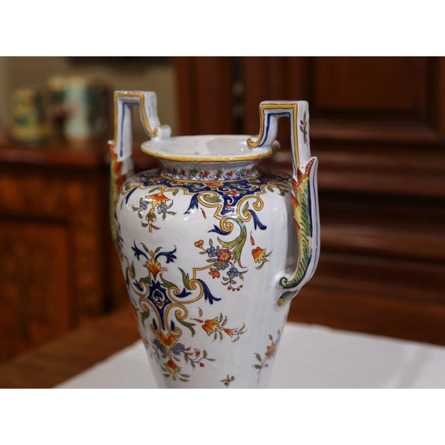 White 19th Century French Hand-Painted Ceramic Vase With Handles From Rouen Normandy For Sale - Image 8 of 11