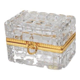 Mid-Century Baccarat Style Jewelry Casket or Box Hand Cut Lead Crystal and Gold Plate Made in France For Sale