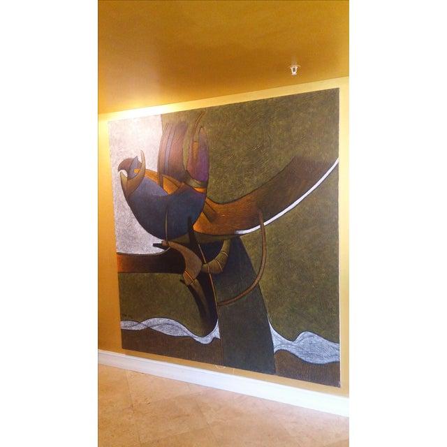 Fabulous giant abstract cut impasto style original painting by famous Ecuador artist Milton Estrella-Gavidia. Born in...