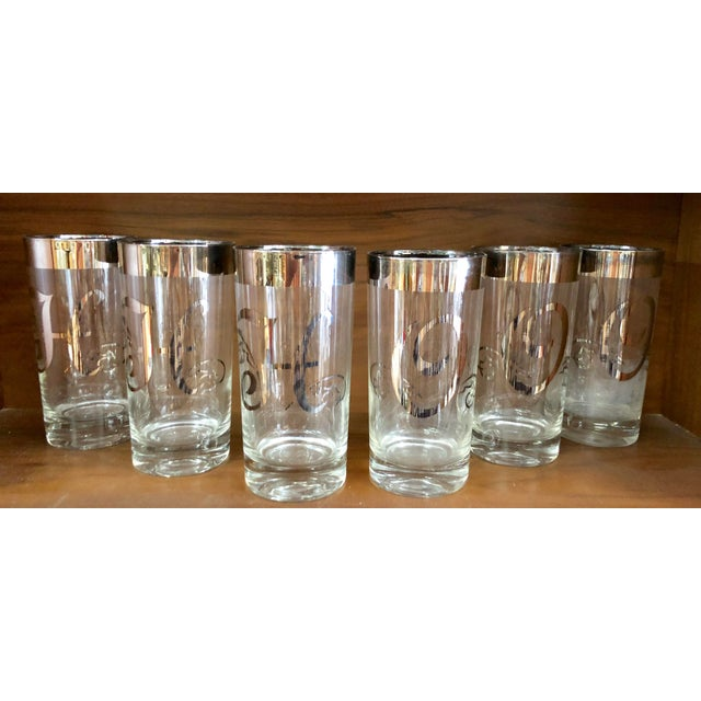 Glass Mid-Century Silver Rimmed Glasses, Set of 6 For Sale - Image 7 of 7