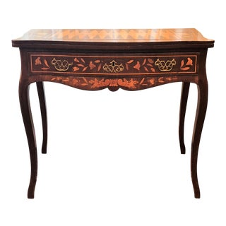 Antique 19th Century Dutch Marquetry Games Table--Backgammon, Chess and Checkers For Sale