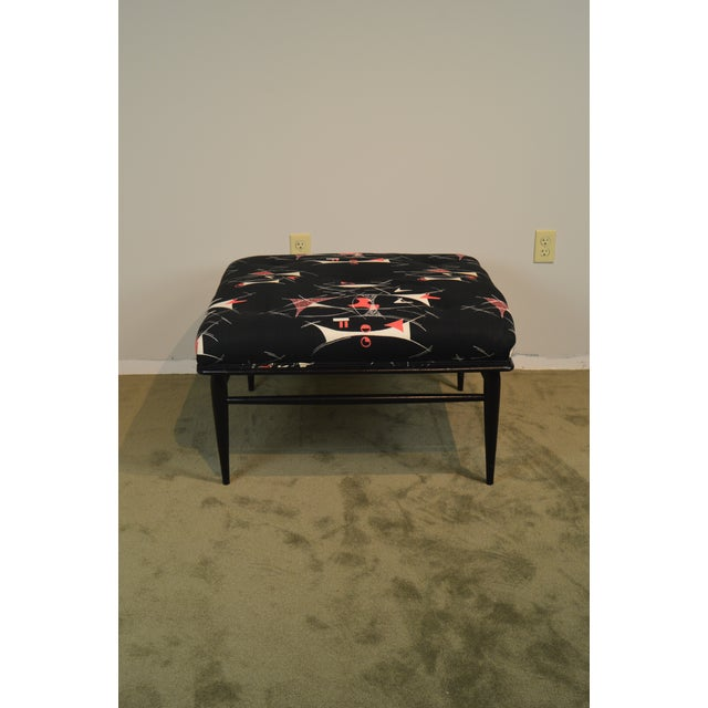 """Mid Century Modern 32"""" Square Black Ottoman For Sale - Image 11 of 13"""