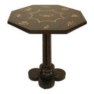 French Victorian Black Marble Floral End Table For Sale