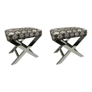 Pair of Chrome X Benches, Snakeskin Print Cowhide For Sale