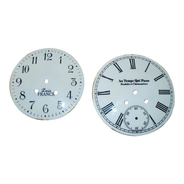 French Shabby Chic Clock Faces - A Pair - Image 1 of 5