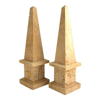Neoclassical Revival Stone Obelisks - a Pair For Sale