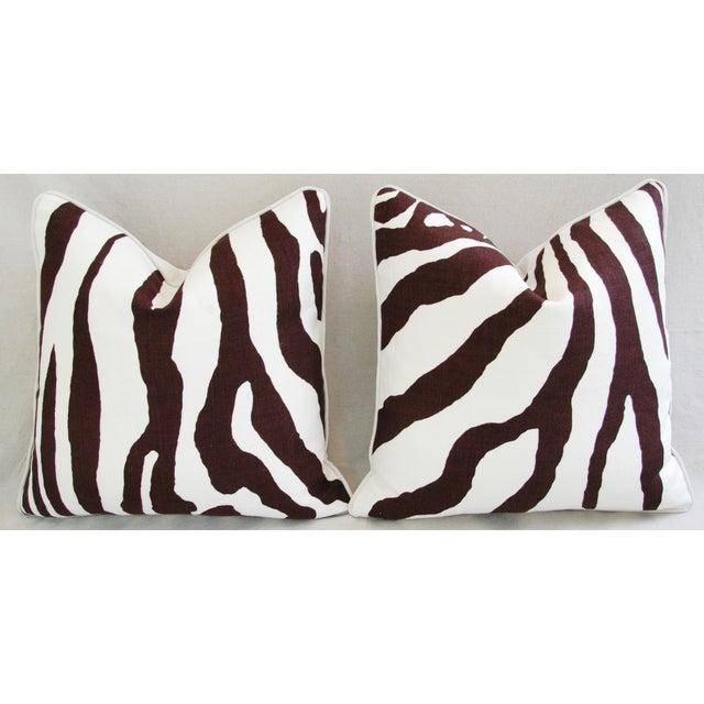 Custom Scalamandre Zebra Linen Pillows - Pair - Image 2 of 11