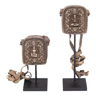 Pair of Miniature Tibetan Traveling Shrines For Sale