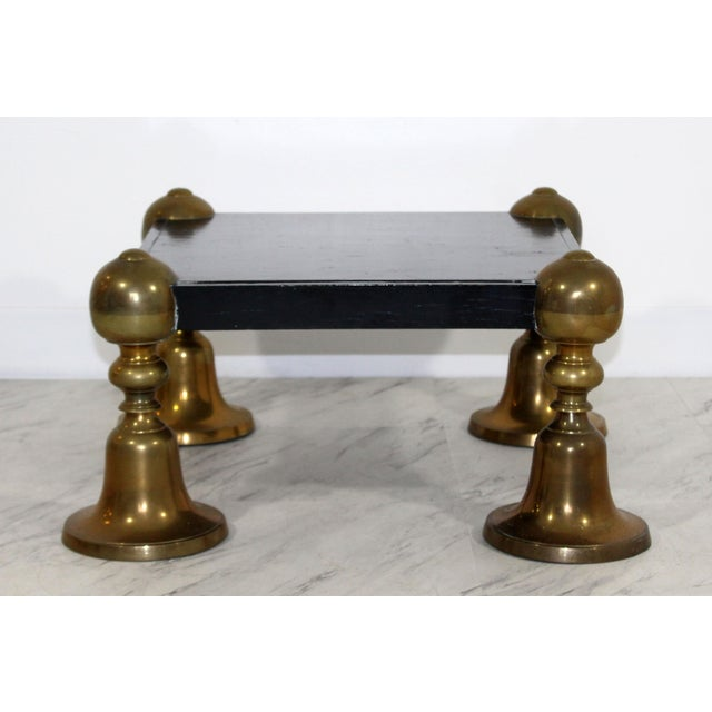 1960s Mid-Century Modern Brass Black Lacquer Wood Pedestal Table For Sale In Detroit - Image 6 of 6