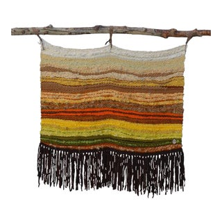 Mid Century Modern Woven Wall Hanging For Sale