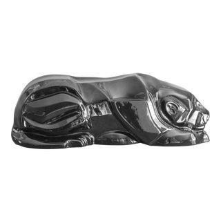 1980's Art Deco Ceramic Black Panther Sculpture by Van Teal For Sale