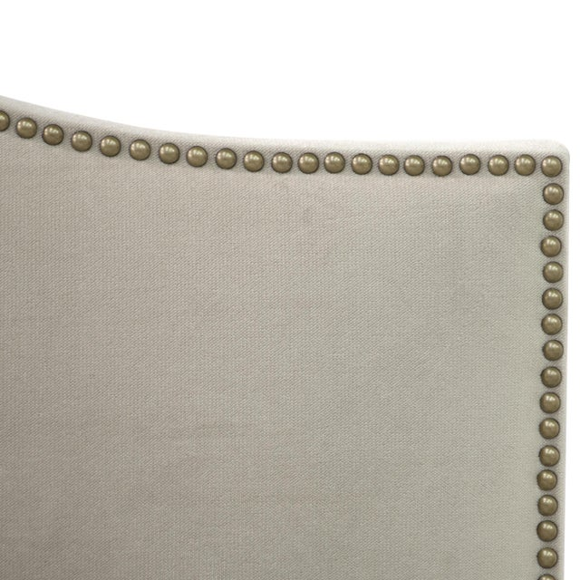 Contemporary Velvet Light Grey Queen Nail Button Bed For Sale - Image 3 of 8