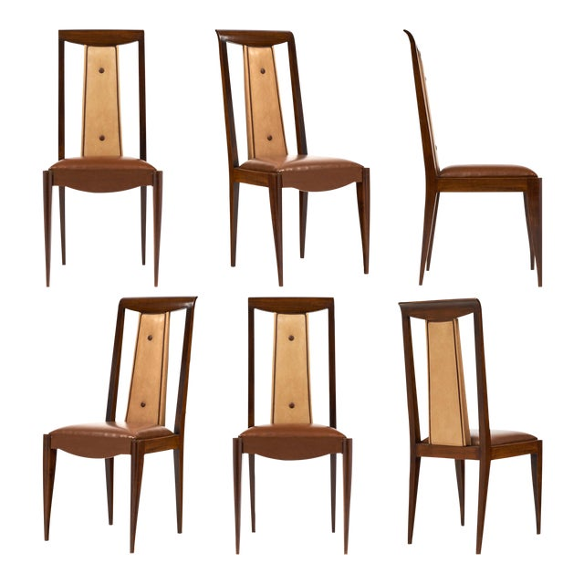 French Art Deco Solid Walnut Dining Chairs- Set of 6 - Image 1 of 11