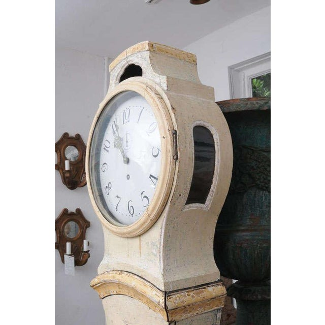 Wood Painted Gustavian Mora Clock For Sale - Image 7 of 8