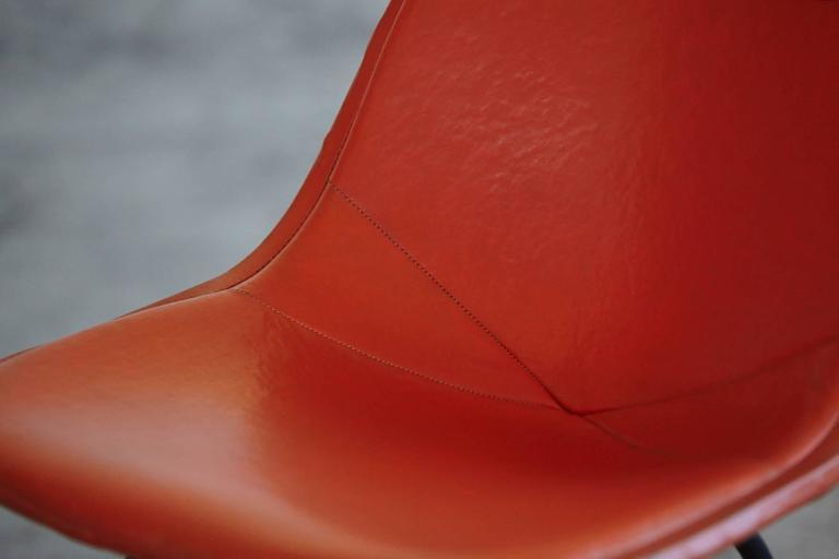 Original Eames DKX 1 Side Chair In Orange Leather For Herman Miller, 1960s