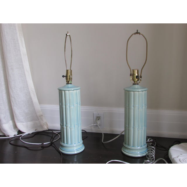 Vintage Celadon Table Lamps - A Pair - Image 2 of 4