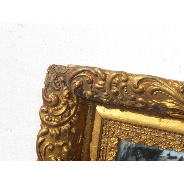 Vintage Antique Wall Mantle Mirror Decorative Gold Gilt Ornate Square Frame For Sale - Image 4 of 10