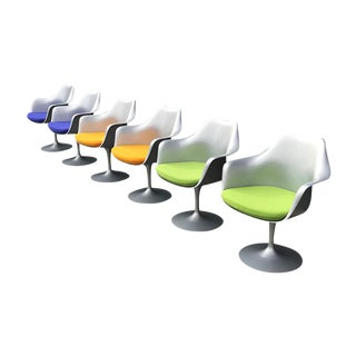 Eero Saarinen for Knoll International Tulip Swivel Chairs- Set of 6 For Sale