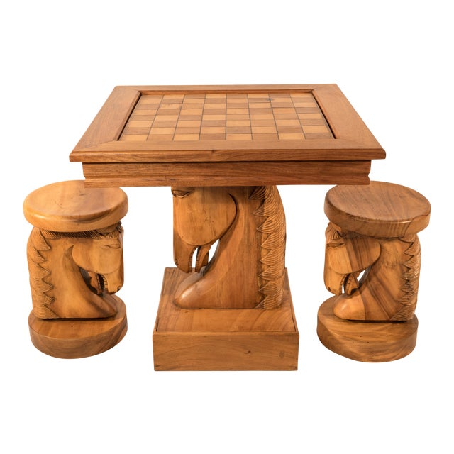 Billy Haines Style Horse Head Game Table and Seats - Image 1 of 11