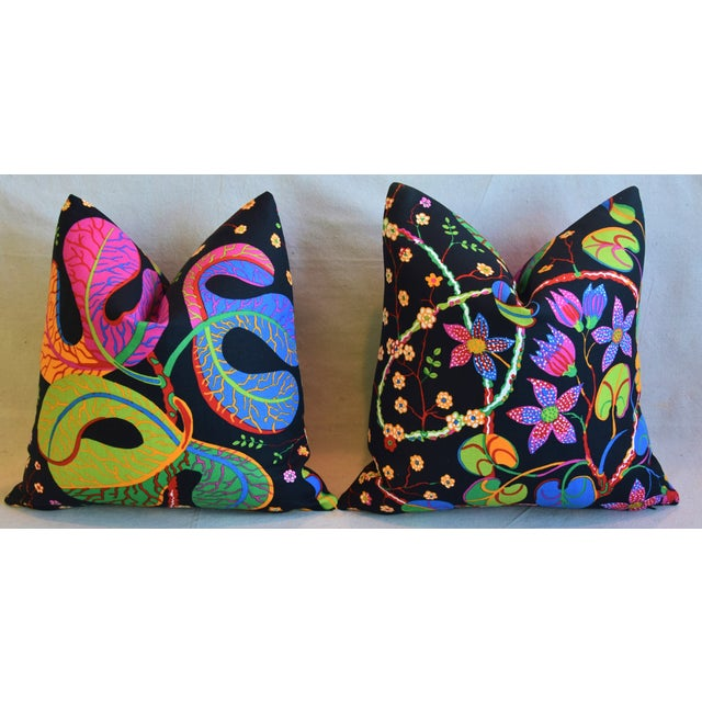 """Designer Josef Frank """"Teheran"""" Floral Linen Feather/Down Pillows 18"""" Square - Pair For Sale In Los Angeles - Image 6 of 11"""