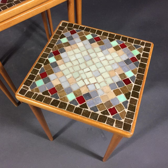 1960s 1960s Birch & Glass Mosaic Nesting Tables, Set of 3 For Sale - Image 5 of 12