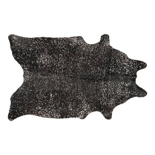 Black + Silver Acid Wash Cowhide For Sale