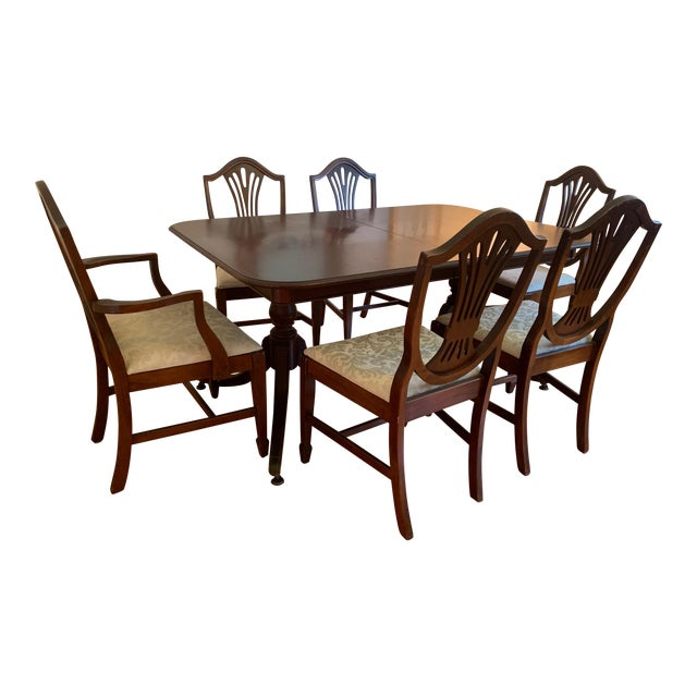 Solid Wood Dining Table Chairs: 1950s Traditional Extendable Solid Wood Dining Table And