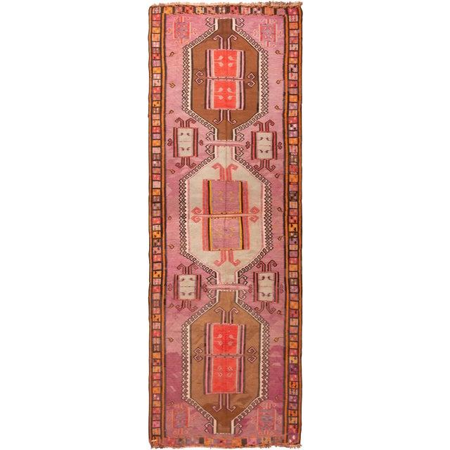 Vintage Mid-Century Geometric Wool Kilim Runner - 5′1″ × 14′9″ For Sale