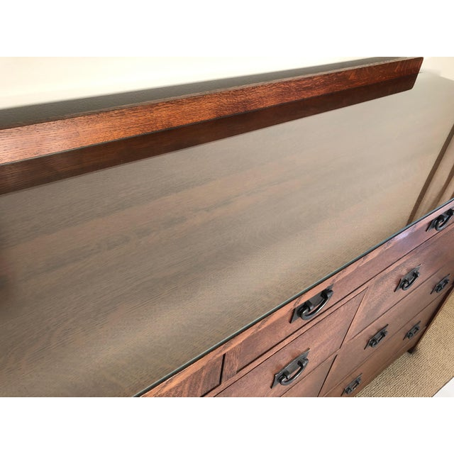 Copper Mission Style Stickley Oak Chest of Drawers For Sale - Image 7 of 10