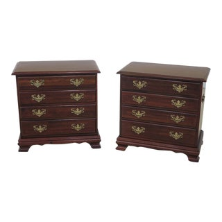 1990s Cresent 4-Drawer Cherry Accent Chests - A Pair For Sale