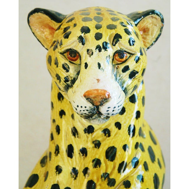 Large Hand-Painted Italain Terracotta Cheetah - Image 4 of 11