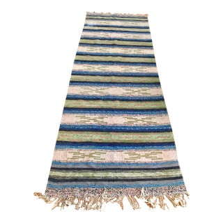 Vintage Swedish Hand Woven Rag Runner Rug - 3′4″ × 9′2″ For Sale