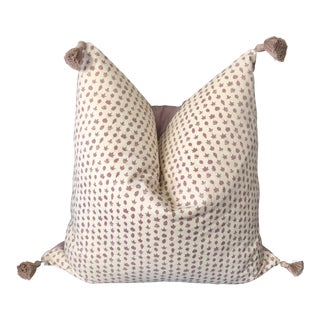 "Custom Lee Jofa ""Little Leaf"" Heather Purple Pillow Cover With Tassels For Sale"