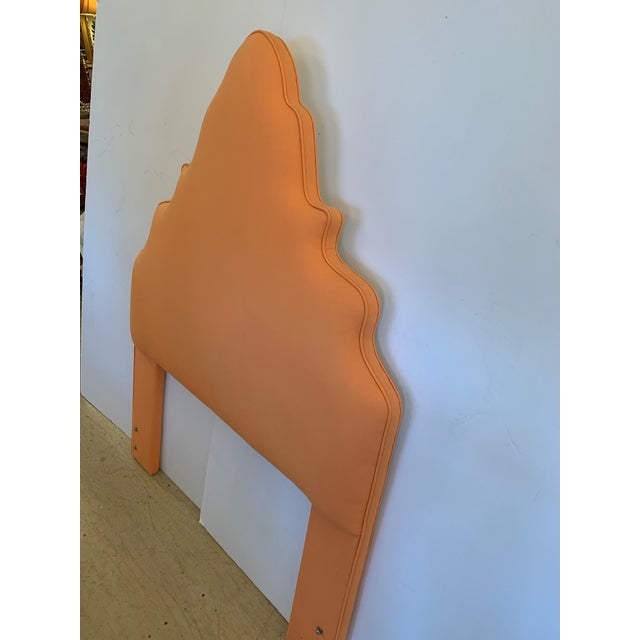 2000 - 2009 Pagoda Shaped Upholstered Twin Headboard For Sale - Image 5 of 10