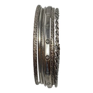 Six Very Vintage Mexican Sterling Bangle Bracelets For Sale