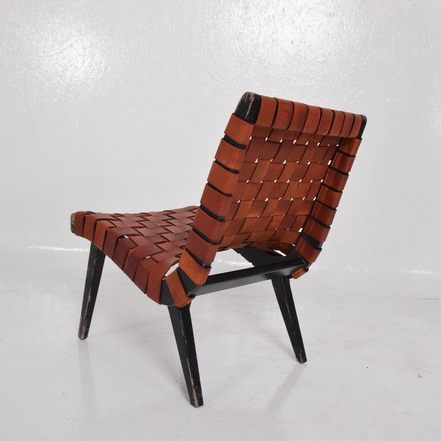 Black Pair of Jens Risom Lounge Chairs for Knoll For Sale - Image 8 of 12