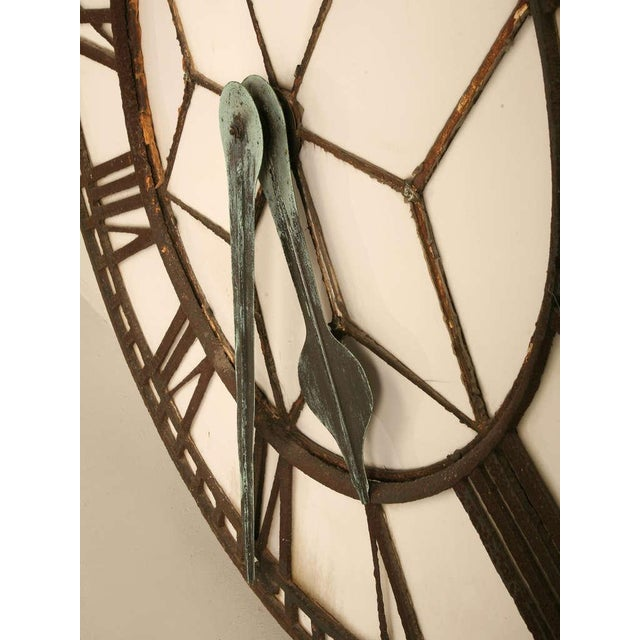 Circa 1860 Cast Iron English Clock Face With Copper Hands For Sale - Image 9 of 11