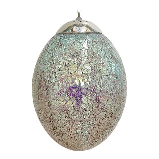Crackled Iridescent Glass Egg Pendants by Fabio Ltd For Sale