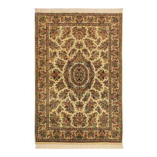 Pak-Persian Cassondr Ivory/Pink Wool Rug - 4'1 X 6'2 For Sale