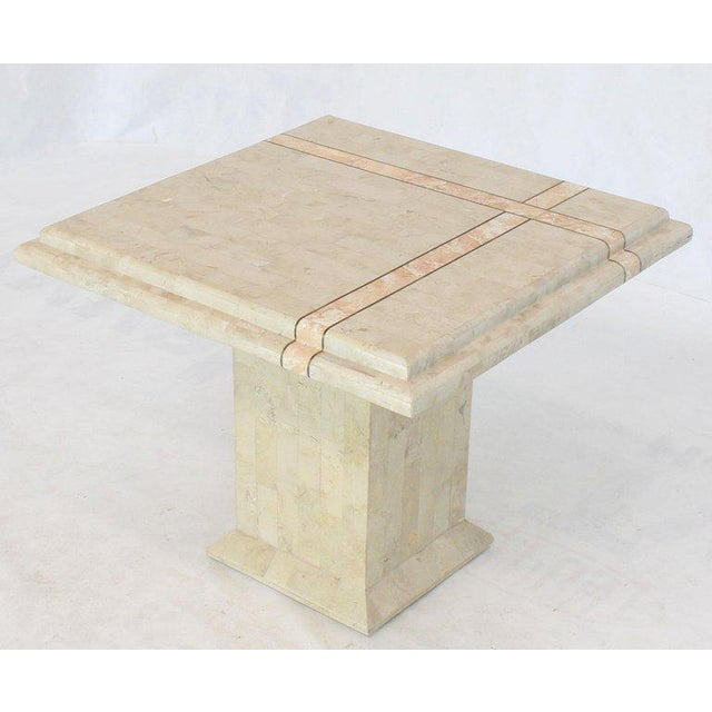 Pair of Tessellated Stone Tile Square Pedestal Shape End Side Tables Stands - A Pair For Sale In New York - Image 6 of 11