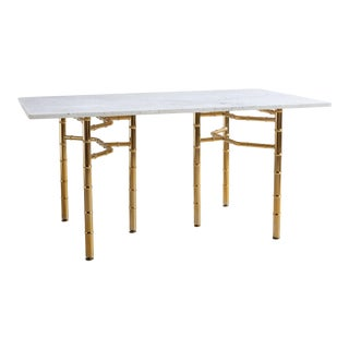Marble Desk With Brass Legs For Sale