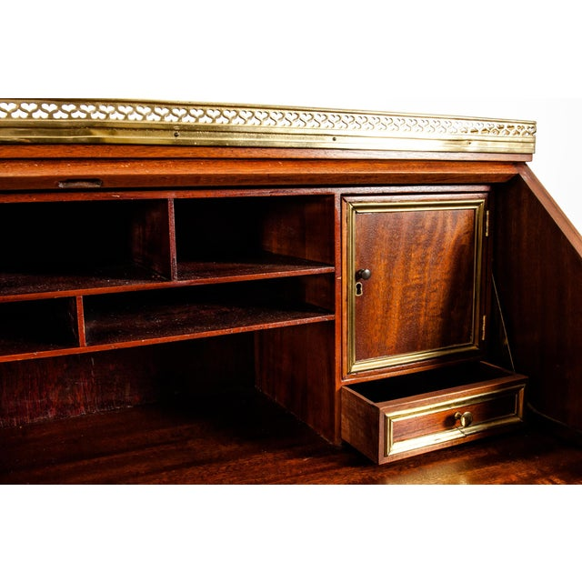 19th Century Mahogany Wood Gallery Top Drop Front Writing Desk For Sale - Image 11 of 13