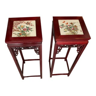Chinese Vintage Rosewood Oriental Square Stand With Hand Painted Porcelain Panel Top - a Pair For Sale