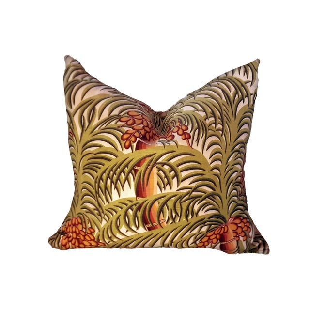 1970s Boho Chic Tropical Jungle Print Brushed Canvas Pillow Covers - Set of 3 For Sale - Image 4 of 12