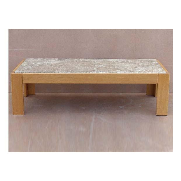 Mid-Century Modern Knoll Beechwood and Marble Coffee Table For Sale - Image 3 of 10