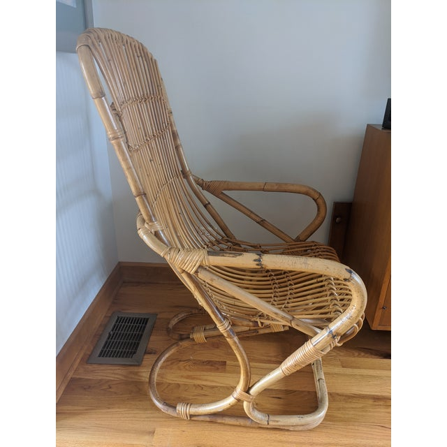 Mid Century Modern Franco Albini Rattan and Wicker Chair and Ottoman For Sale In Chicago - Image 6 of 7