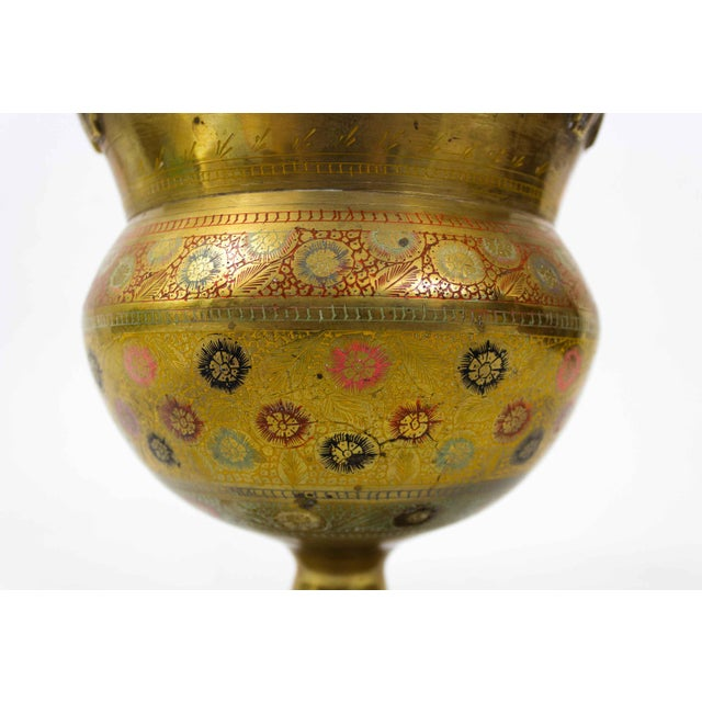 Mid 20th Century Brass Floral Etched Vase For Sale - Image 5 of 7