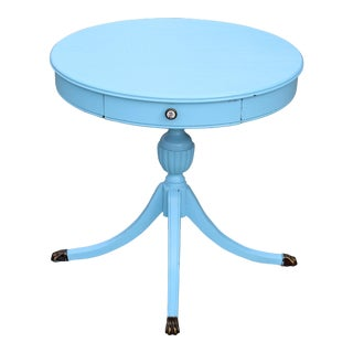 1920's Vintage Regency Style Blue Painted Round Occasional Table For Sale