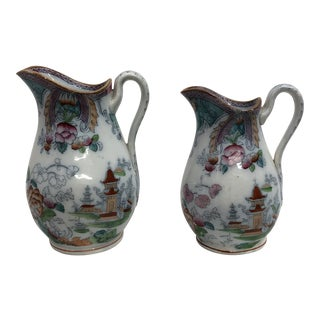 Late 19th Century Antique English Chinoiserie Jugs - a Pair For Sale