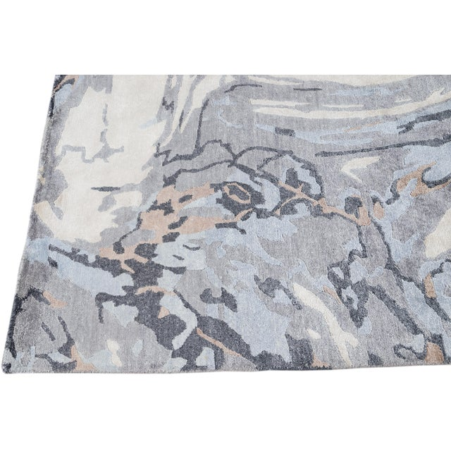 2010s 21st Century Modern Abstract Wool Rug For Sale - Image 5 of 12